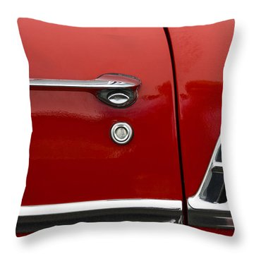 1956 Chevy Door Detail Throw Pillow by Carol Leigh