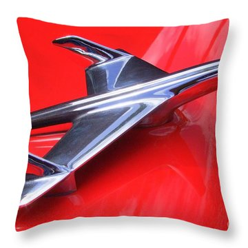 1956 Chevy Hood Ornament Throw Pillow by Mary Deal