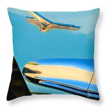 1956 Ford Fairlane Thunderbird Emblem Throw Pillow by Jill Reger