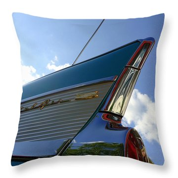1957 Chevrolet Bel Air Fin Throw Pillow