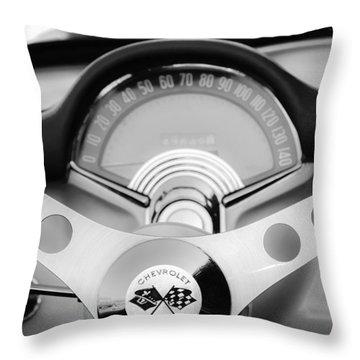 1957 Chevrolet Corvette Convertible Steering Wheel 2 Throw Pillow by Jill Reger