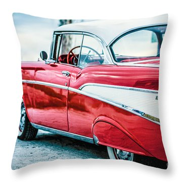 Throw Pillow featuring the photograph 1957 Chevy Bel Air by Edward Fielding