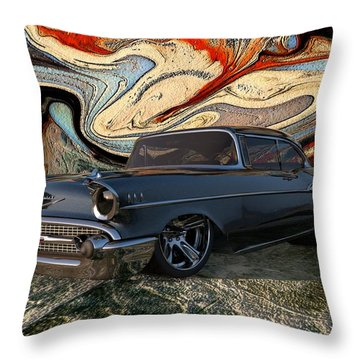 1957 Chevy Bel Air Throw Pillow by Louis Ferreira