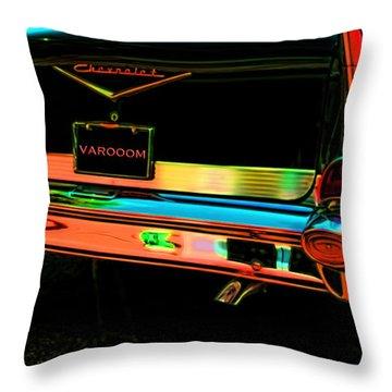 1957 Chevy Art Red Varooom Throw Pillow