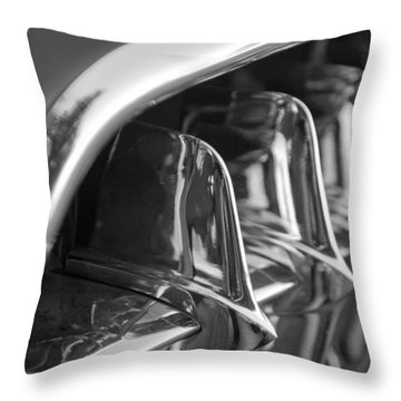 1957 Corvette Grille Black And White Throw Pillow by Jill Reger