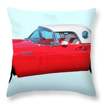 Old Car Throw Pillow featuring the photograph 1957 Ford Thunderbird  by Aaron Berg
