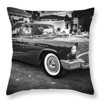 1957 Ford Thunderbird Convertible Bw Throw Pillow