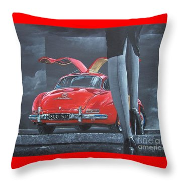 1957 Mercedes Benz 300 Sl Gullwing Coupe Throw Pillow