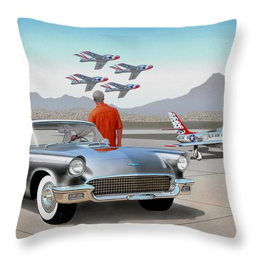 1957 Thunderbird  With F-84 Gunmetal Vintage Ford Classic Art Sketch Rendering           Throw Pillow