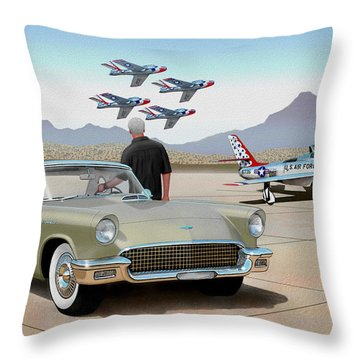 1957 Thunderbird  With F-84 Thunderbirds Inca Vintage Ford Classic Art Sketch Rendering            Throw Pillow