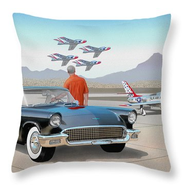 1957 Thunderbird  With F-84 Thunderbirds Vintage Ford Classic Car Art Sketch Rendering          Throw Pillow