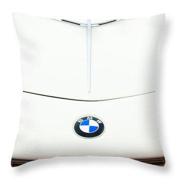 1958 Bmw 507 Roadster Hood Emblem Throw Pillow by Jill Reger