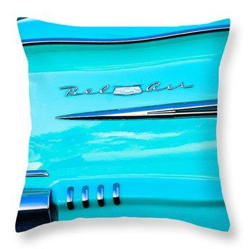 1958 Chevrolet Belair Tail Emblem Throw Pillow by Jill Reger