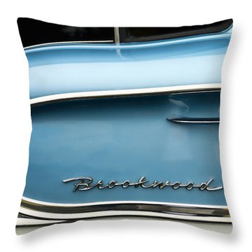 1958 Chevrolet Brookwood Station Wagon Throw Pillow by Carol Leigh