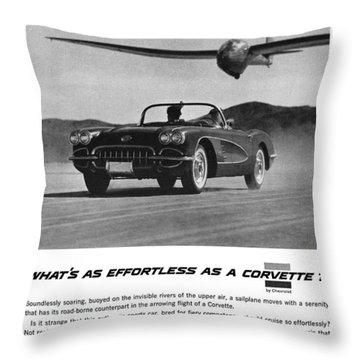 1958 Chevy Corvette Throw Pillow