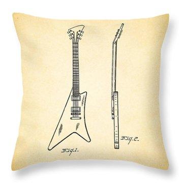 1958 Gibson Guitar Patent Throw Pillow