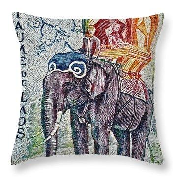 1958 Laos Elephant Stamp Throw Pillow