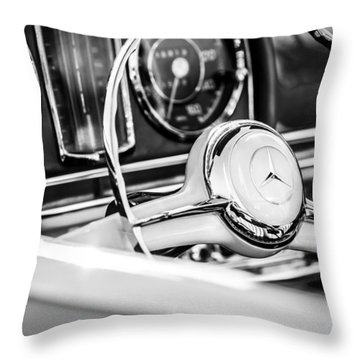 1958 Mercedes-benz 300sl Roadster Steering Wheel -1131bw Throw Pillow