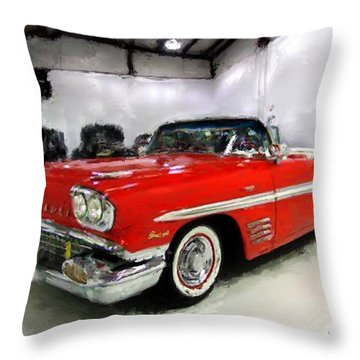 1958 Pontiac Bonneville Convertible Throw Pillow