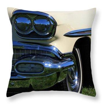 1958 Pontiac Strato Chief Throw Pillow by Davandra Cribbie