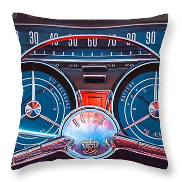 1959 Buick Lesabre Steering Wheel Throw Pillow by Jill Reger