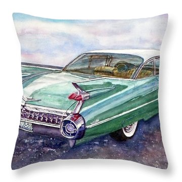 Throw Pillow featuring the painting 1959 Cadillac Cruising by Anna Ruzsan