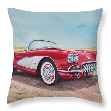 1959 Chevrolet Corvette Cabriolet Throw Pillow