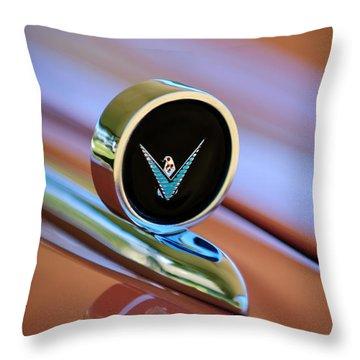 1959 Ford Thunderbird Convertible Hood Ornament Throw Pillow by Jill Reger
