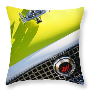 1959 Nash Metropolitan 1500 Convertible Hood Ornament - Grille Emblem Throw Pillow by Jill Reger