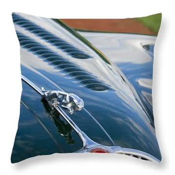 1960 Jaguar Xk 150s Fhc Hood Ornament 3 Throw Pillow by Jill Reger
