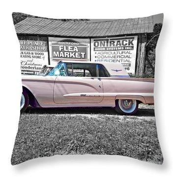 1960 Thunderbird Bw Throw Pillow