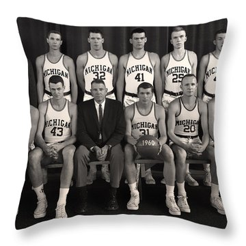 1960 University Of Michigan Basketball Team Photo Throw Pillow by Mountain Dreams
