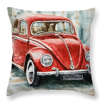 1960 Volkswagen Beetle 2 Throw Pillow