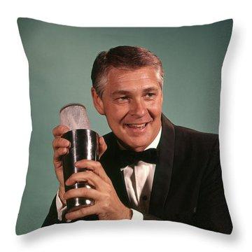 1960s 1970s Bartender Smiling Man Throw Pillow