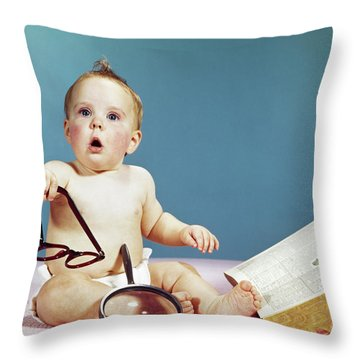 1960s Baby Holding Eyeglasses With Open Throw Pillow
