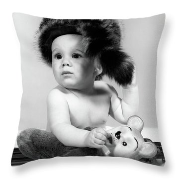 1960s Baby Wearing Coonskin Hat Throw Pillow