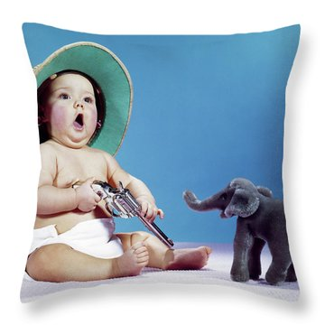 1960s Baby Wearing Pith Helmet Holding Throw Pillow