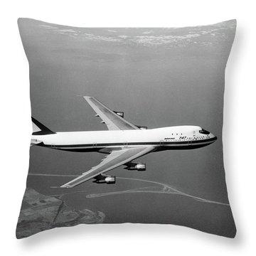 1960s Boeing 747 In Flight Throw Pillow