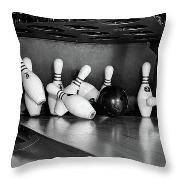 1960s Close-up Of Bowling Ball Hitting Throw Pillow