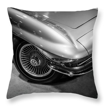 1960's Corvette C2 In Black And White Throw Pillow by Paul Velgos