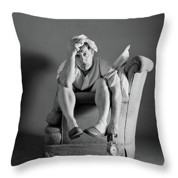1960s Exhausted Sleepless Man Sitting Throw Pillow