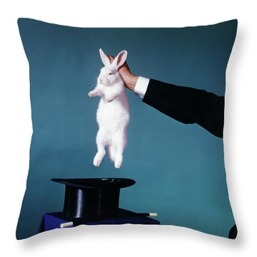 1960s Hand Of Magician Pulling White Throw Pillow