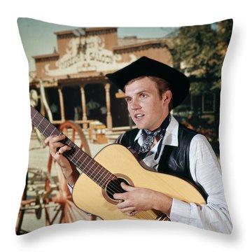 1960s Man Singing Cowboy Strumming Throw Pillow