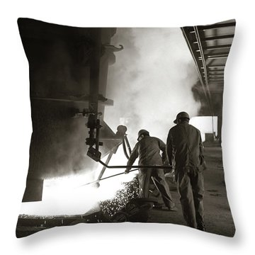 1960s Pair Of Steel Workers Wearing Throw Pillow