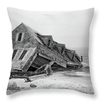 1960s Seashore House Washed Into Ocean Throw Pillow