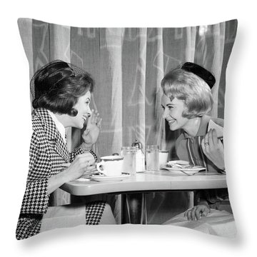 1960s Two Women Gossiping At Lunch Throw Pillow
