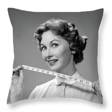 1960s Woman Portrait Holding Measuring Throw Pillow