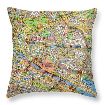 1961 Berlin Map Throw Pillow