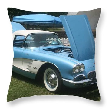 1961 Blue Jewel Metallic Corvette Throw Pillow
