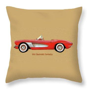 1961 Chevrolet Corvette Throw Pillow